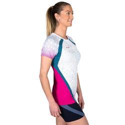 Volleybalshirt V500 voor dames turquoise en roze