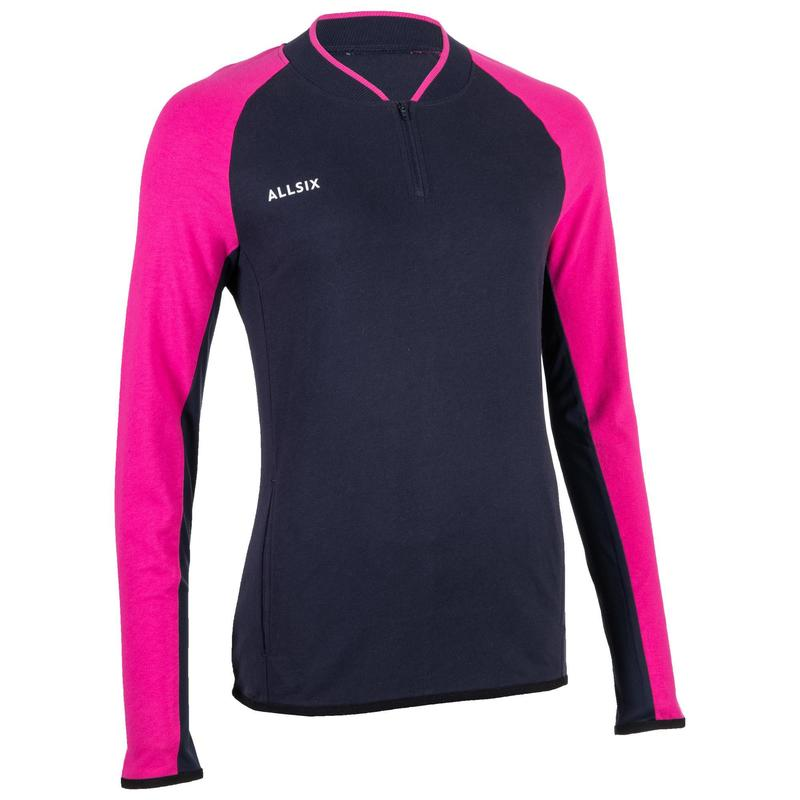 Volleybal sweatshirt dames marineblauw/roze