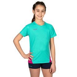 Volleybalshirt V100 voor meisjes groen en roze
