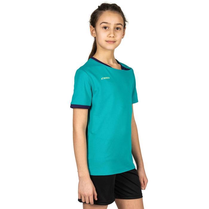 Handbalshirt voor kinderen H100 turquoise / paars