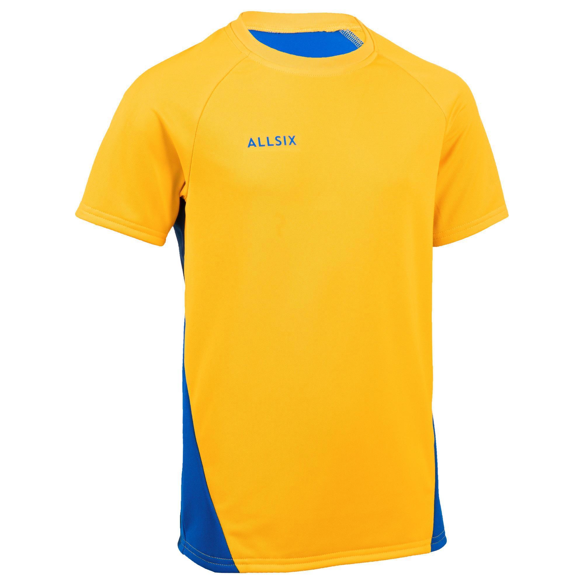 Allsix Volleybalshirt jongens V100 geel/blauw