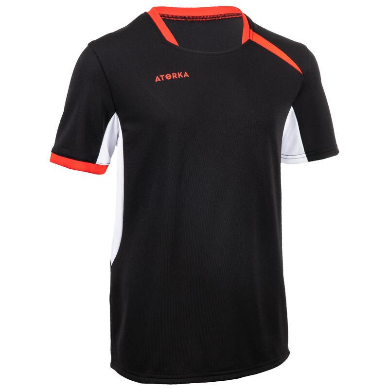 Tricou Handbal H100 Negru/Roşu Copii