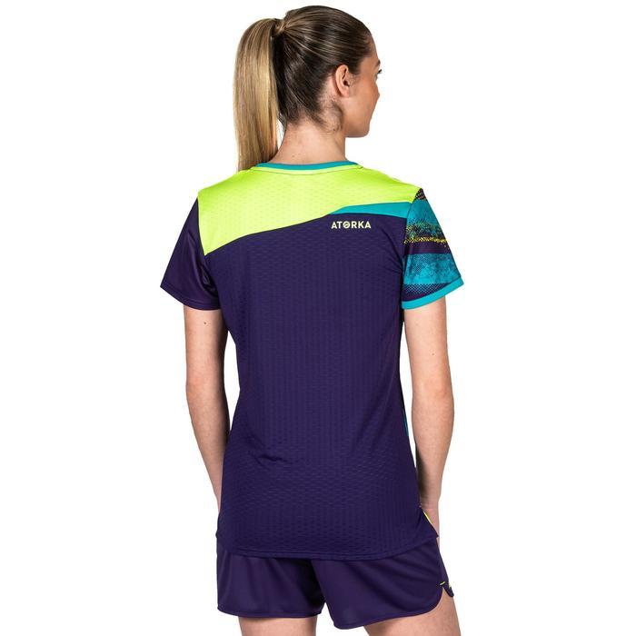 Camiseta de Balonmano Atorka H500 Mujer Violeta Amarillo