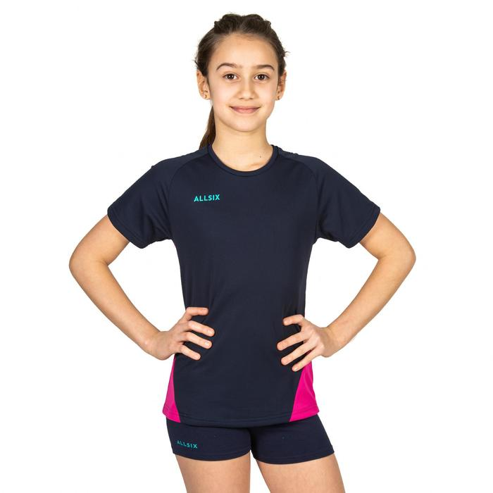 Maillot de volley-ball fille V100 bleu et rose