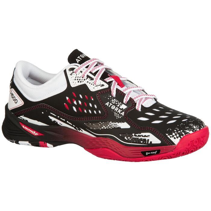 Chaussures de handball adulte H500 rose / noir / blanc