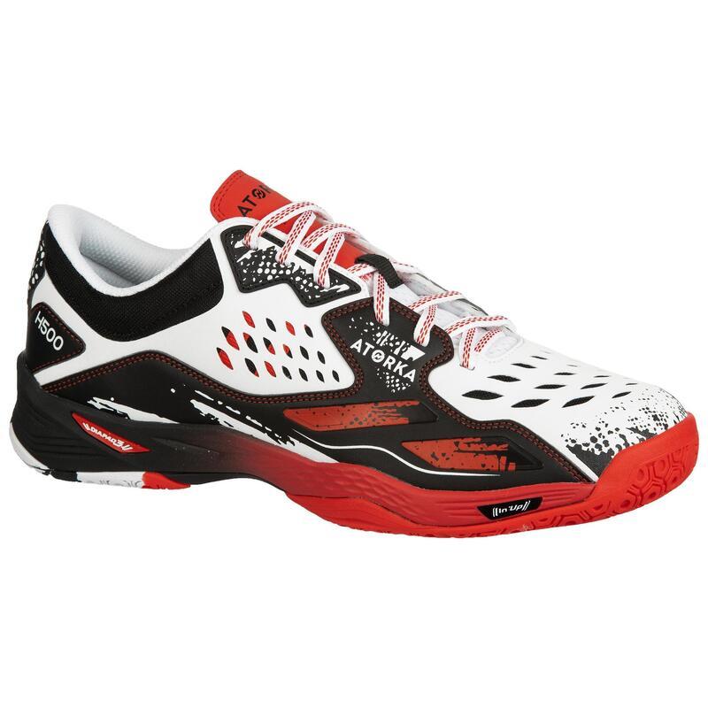 H500 Handball Shoes - White/Red/Black