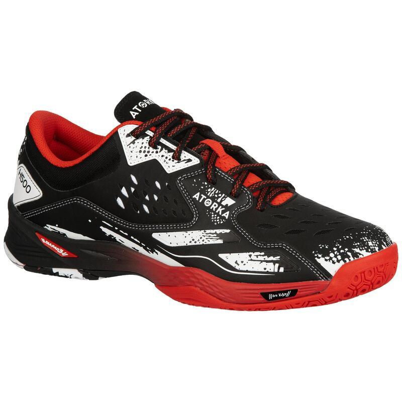 H500 Handball Shoes - Black/Red/White