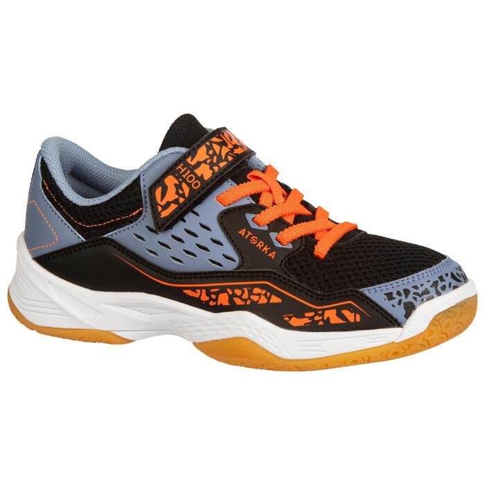 Chaussures de handball enfants H100 avec scratch orange / gris