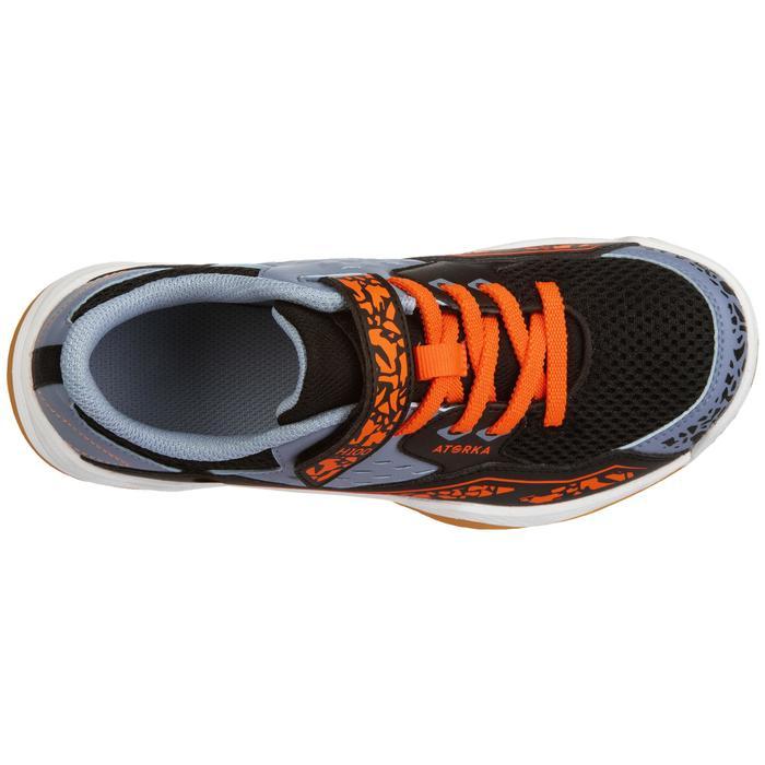 Handbalschoenen kind H100 klittenband oranje/grijs