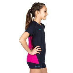 Camiseta de Voleibol Allsix V100 niña azul y rosa