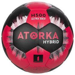 Balón de balonmano júnior híbrido Talla 1 rosa y negro