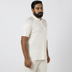 MEN'S QUICK DRY CRICKET T-SHIRT, IVORY 100, WHITE