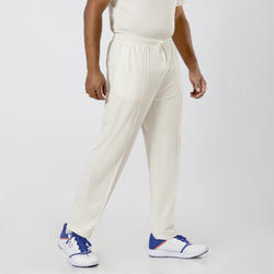 MEN'S STRAIGHT FIT WITH MESH CRICKET TRACKPANTS, IVORY 100, WHITE