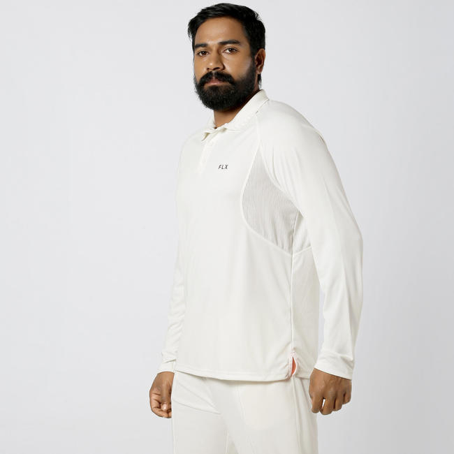 MEN'S FULL SLEEVE QUICK DRY CRICKET T-SHIRT, IVORY 500, WHITE