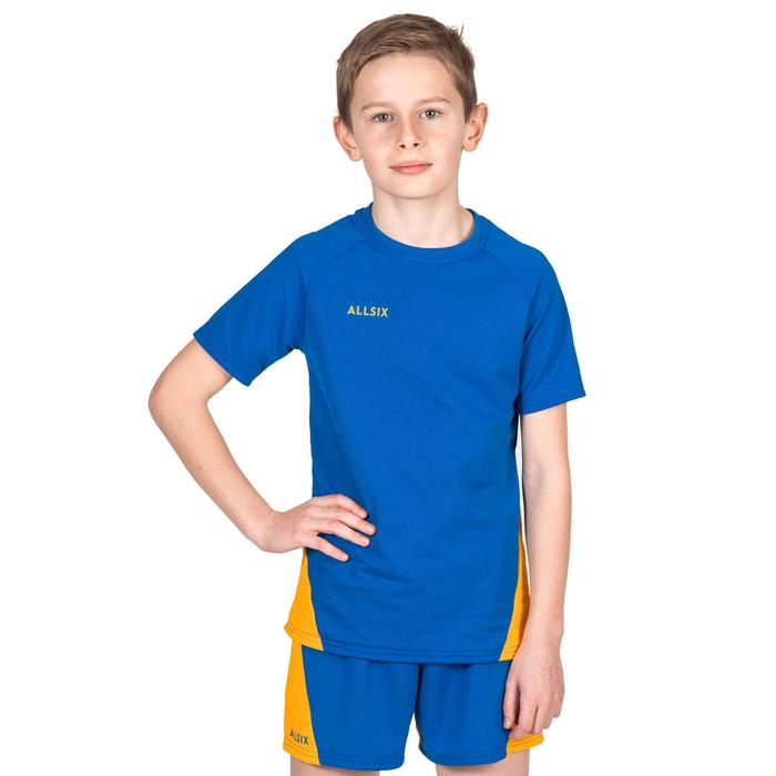 Maillot de volley-ball garçon V100 bleu et jaune