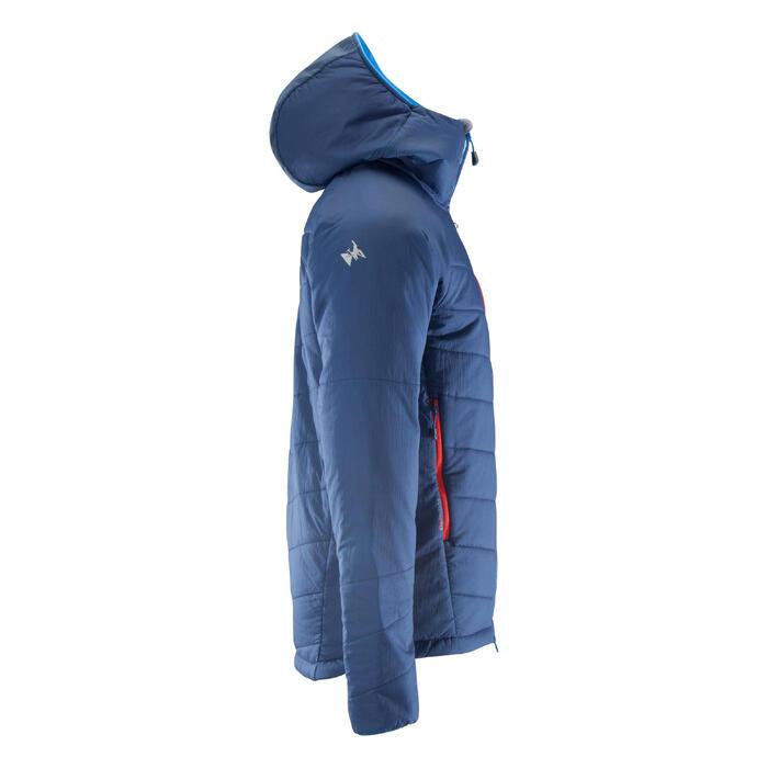 Gewatteerde herenjas voor alpinisme blauw grijs