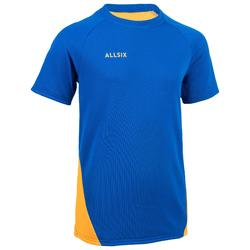 Camiseta de Voleibol Allsix V100 niños azul y amarillo