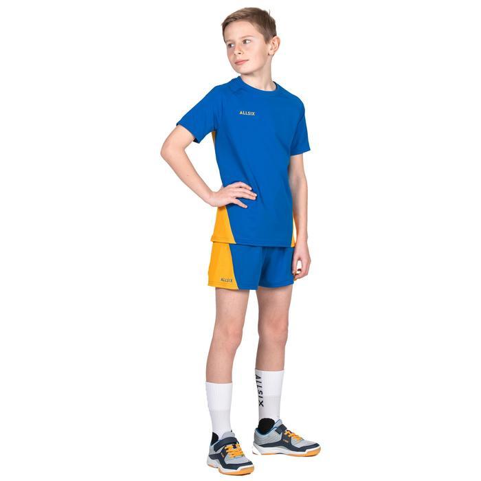 Pantalón corto de Voleibol Allsix V100 niño azul y amarillo