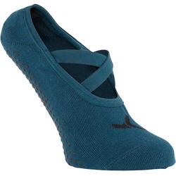 Calcetines Antideslizantes Cortos Pinkies Gimnasia Pilates Azul