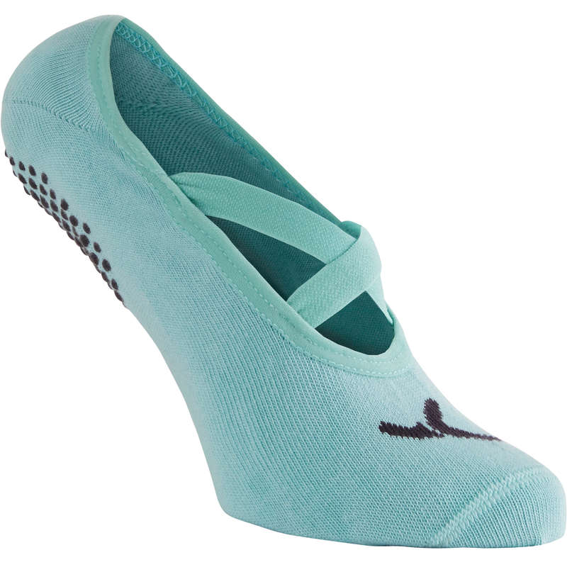 T-SHIRT, LEGGINGS, SHORT DONNA Ginnastica, Pilates - Calze antiscivolo azzurre NYAMBA - Materiale ginnastica, pilates