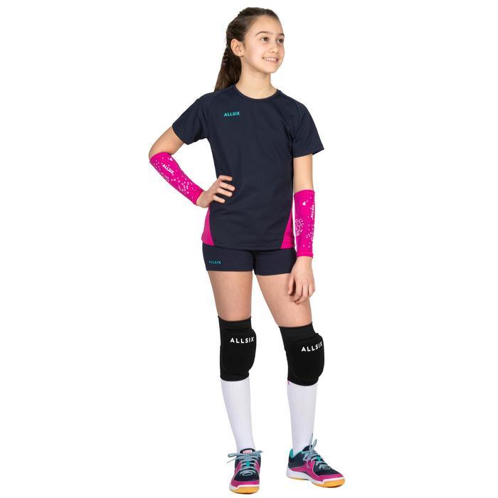 Volleybalschoenen voor meisjes V100 met veters blauw/roze