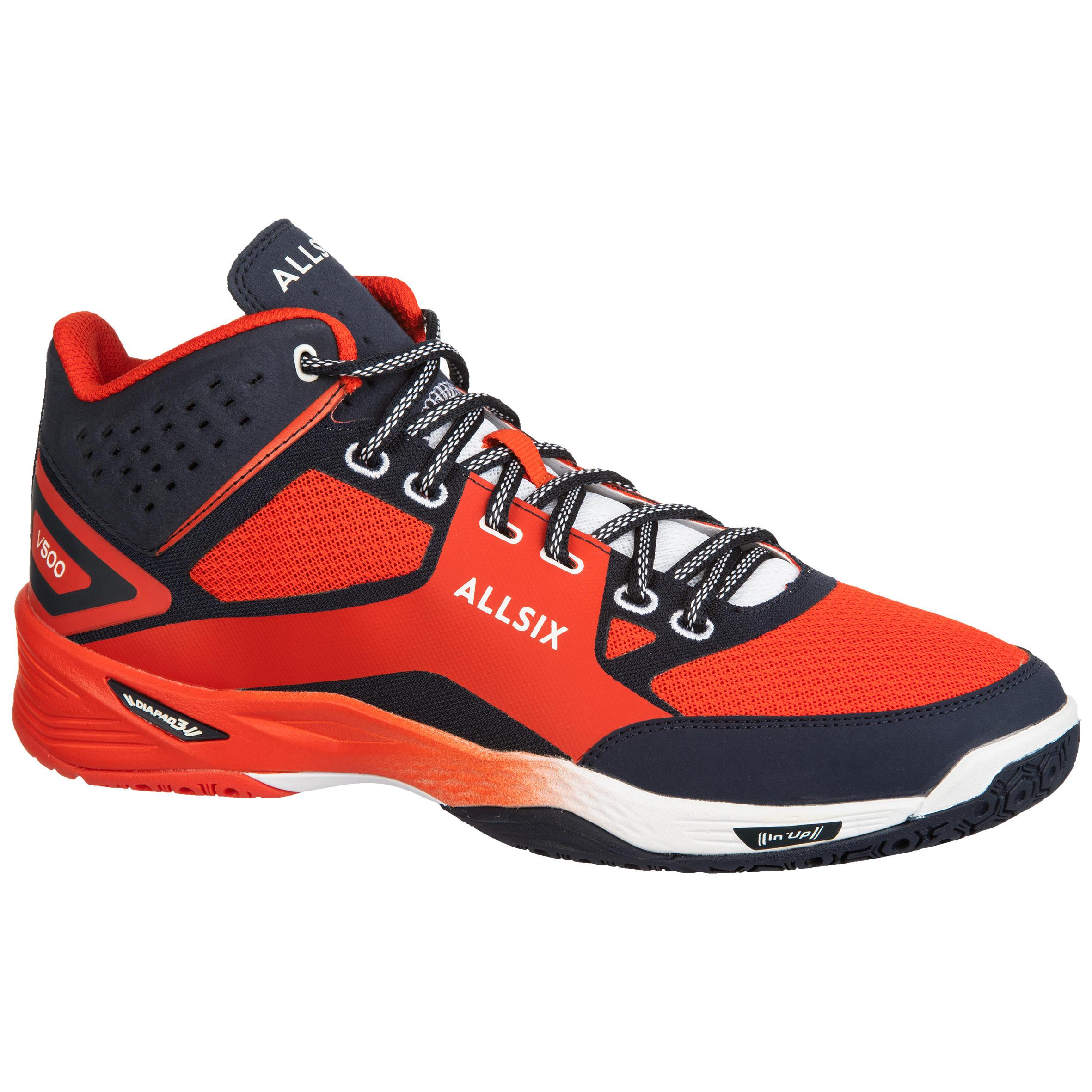 Chaussures mid homme de volley ball v500 rouges et bleues allsix