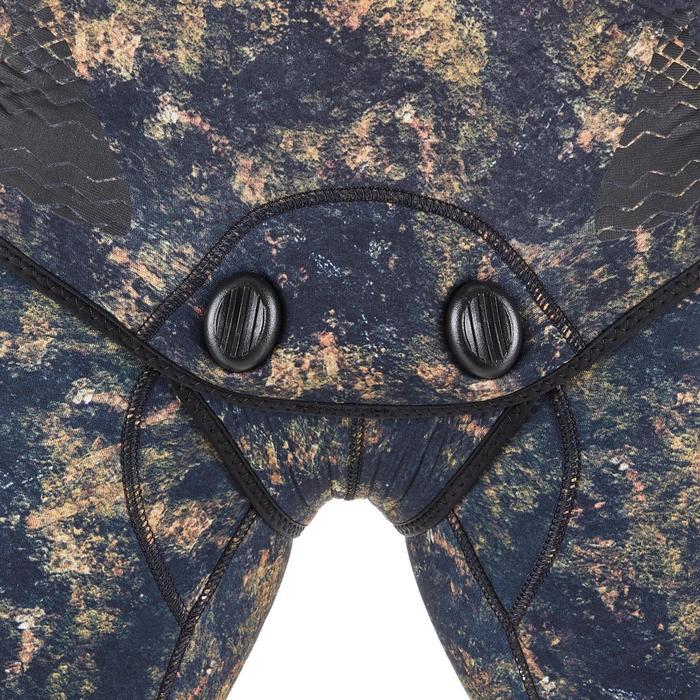 Camouflage duikvest SPF500 in glad neopreen van 5 mm voor harpoenvissen kaki