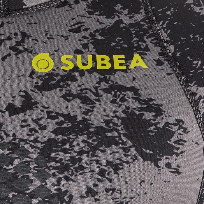 Veste chasse sous-marine camouflage déstructuré noir néoprène refendu 5mm SPF500