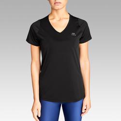 女款慢跑T恤RUN DRY - 黑色