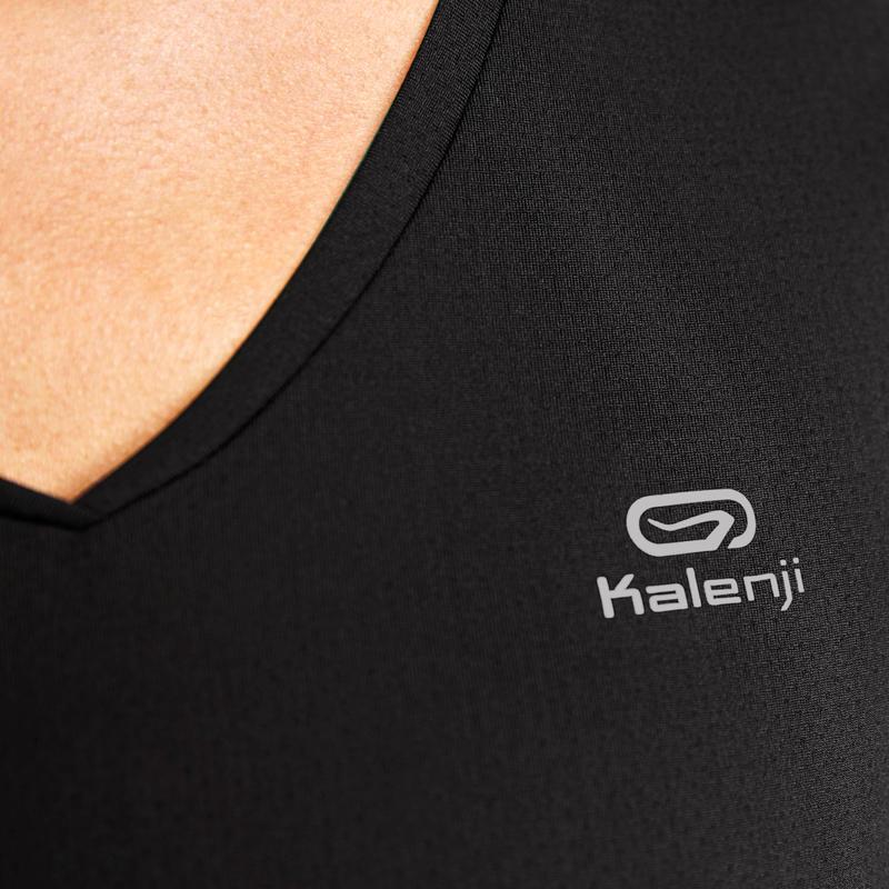 เสื้อยืดผู้หญิงสำหรับใส่วิ่งรุ่น RUN DRY (สีดำ)