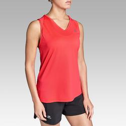 Mouwloos hardloopshirt voor dames Run Dry koraalrood