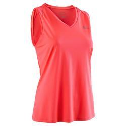 Camiseta Sin Mangas Running Kalenji Run Dry Mujer Rosa Coral Fluorescente