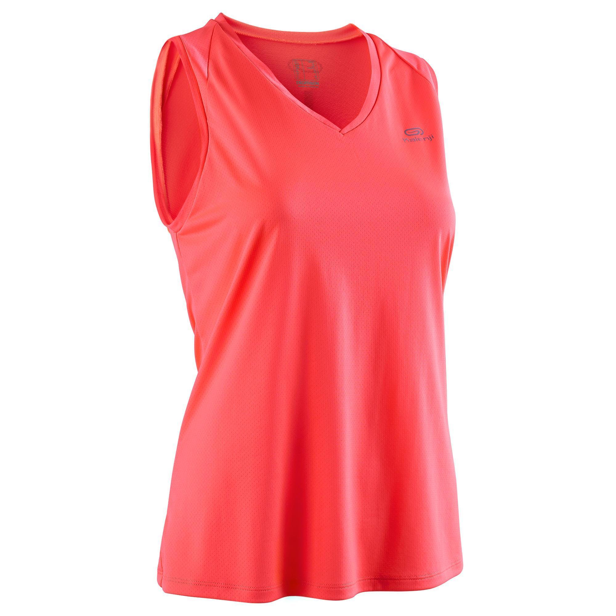 Kalenji Mouwloos hardloopshirt voor jogging heren Run Dry koraalrood