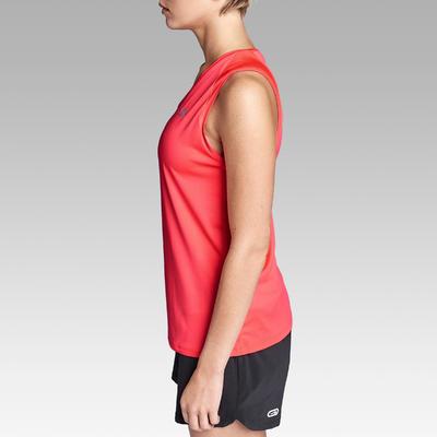 Camiseta Sin Mangas Running Kalenji Mujer Rosa Coral Fluorescente