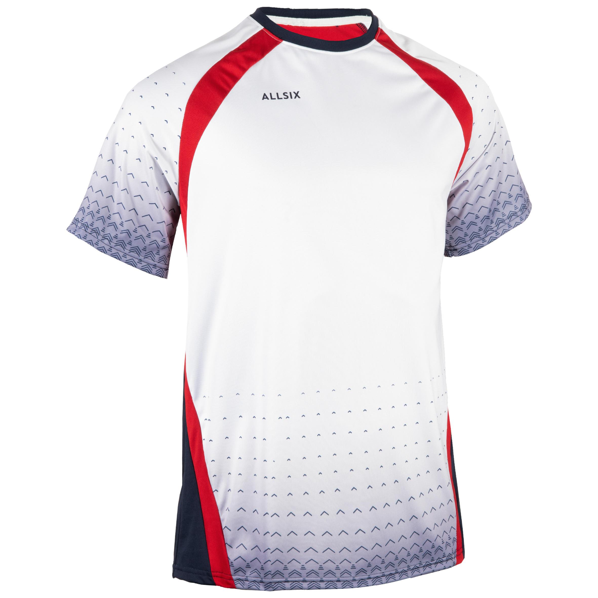Allsix Volleybalshirt voor heren V500 grijs/rood
