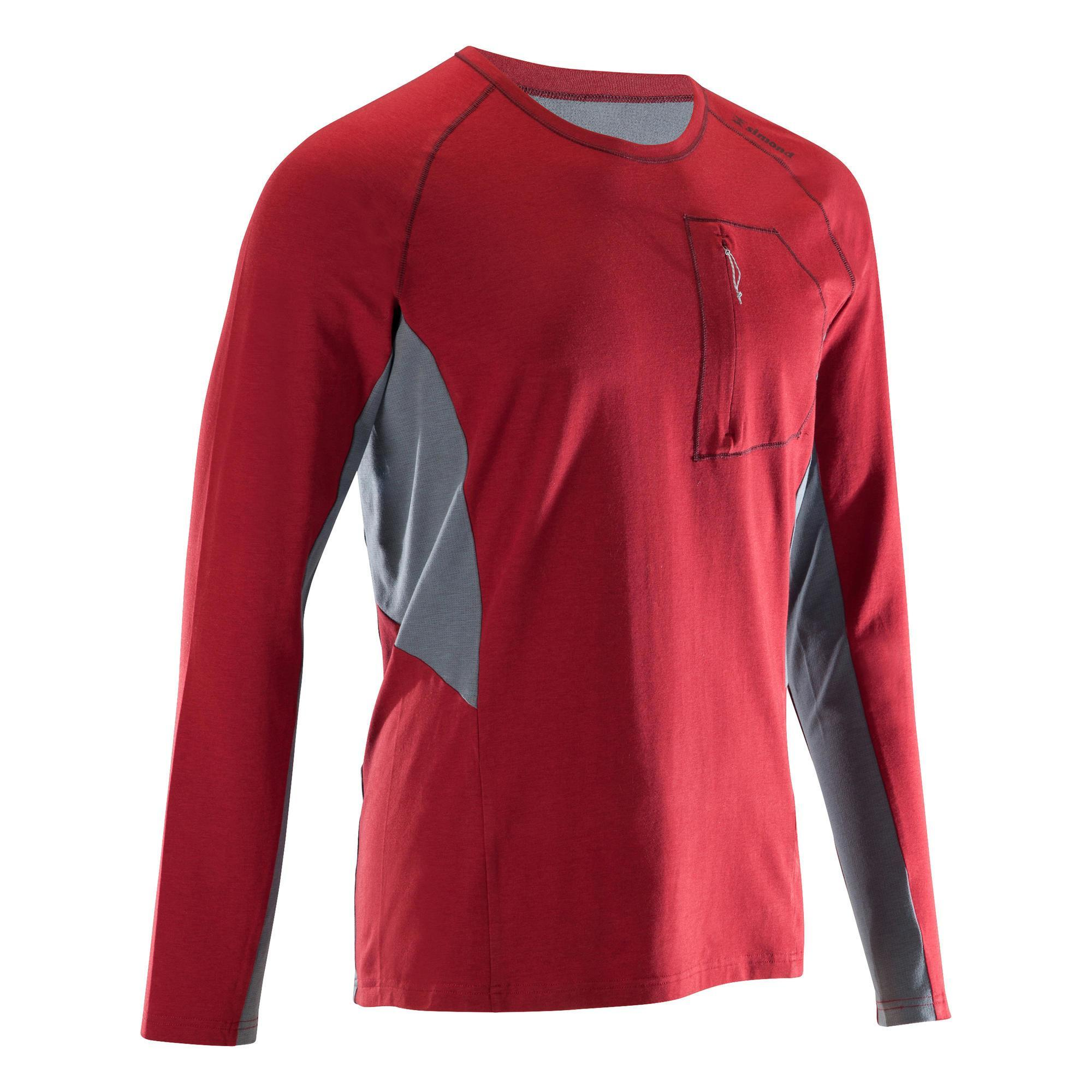 Klettershirt langarm Herren bordeauxrot | Sportbekleidung > Sportshirts > Klettershirts | Simond