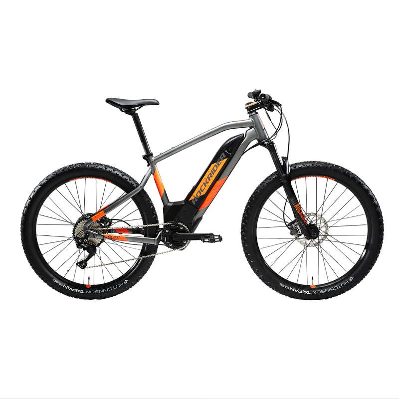 MEN SPORT TRAIL MTB ELECTRIC BIKE Cycling - E-ST900 Electric Mountain Bike, Grey/Orange - 27.5+ ROCKRIDER - Bikes