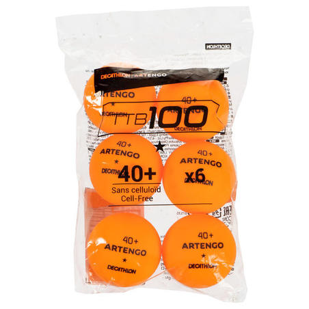 TTB 100* 40+ 6-Pack Table Tennis Balls - Orange