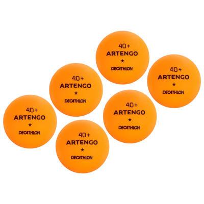 BALLES DE TENNIS DE TABLE TTB 100* 40+ x6 ORANGE