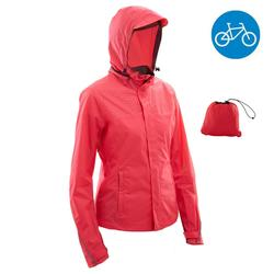 CHAQUETA IMPERMEABLE CICLISMO URBANO MUJER 100 ROSA