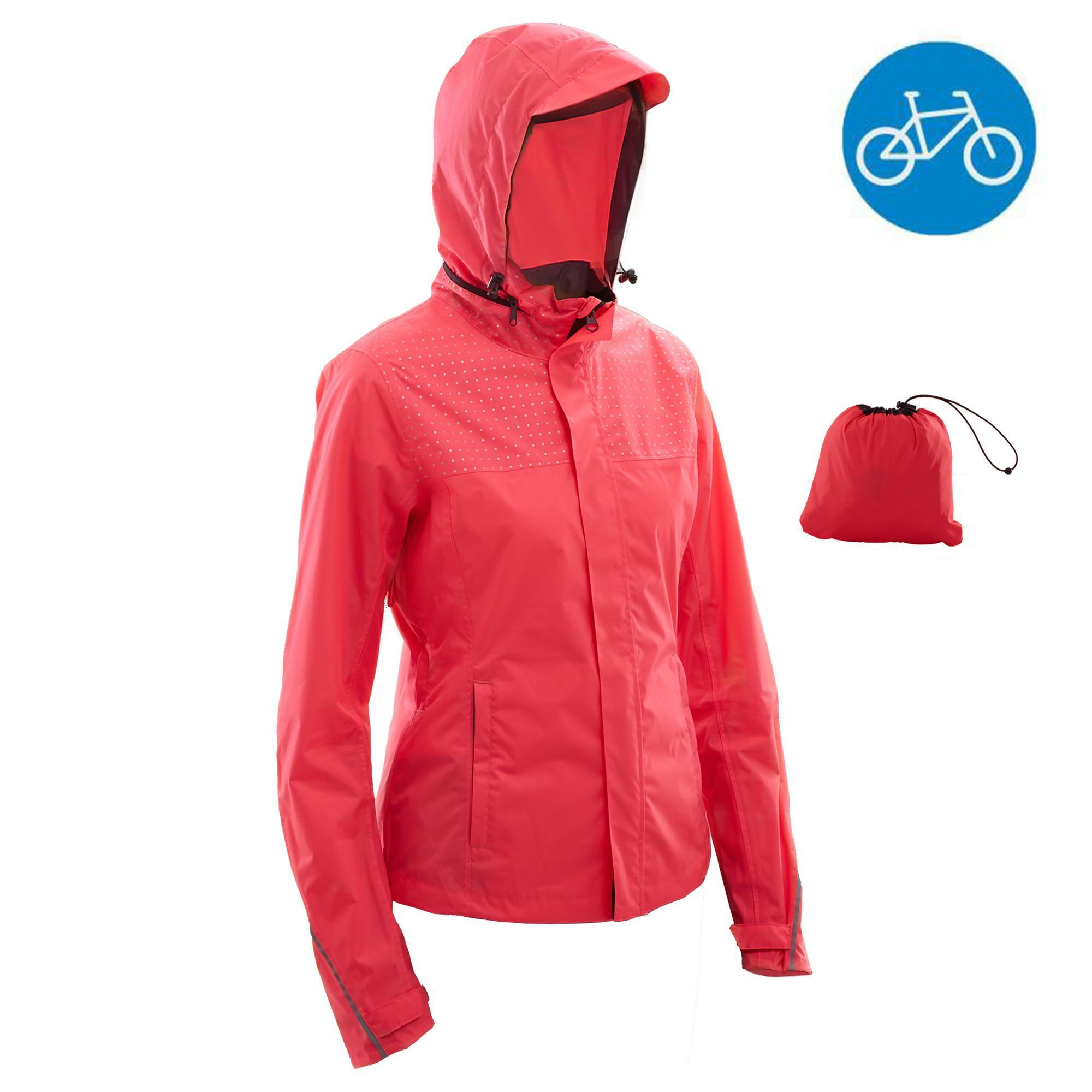 fahrrad regenjacke city 100 damen rosa b 39 twin decathlon. Black Bedroom Furniture Sets. Home Design Ideas