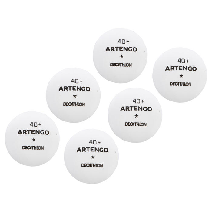 Tischtennisbälle TTB 100 1* 40+ 6er-Dose weiß