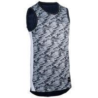 Camiseta sin mangas reversible hombre perfeccionamiento azul jaspeado/gris