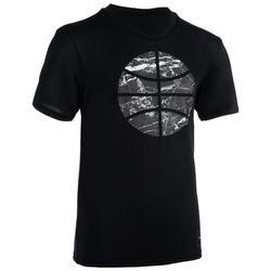 TS500 Boys'/Girls' Intermediate Basketball T-Shirt - Black Marble Ball