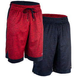 Intermediate Reversible Basketball Shorts - Navy/Red