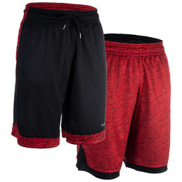 Intermediate Reversible Basketball Shorts - Red/Black