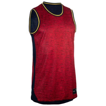 Reversible Sleeveless Basketball Jersey, Intermediate Players - Red/Navy
