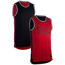 Intermediate Sleeveless Reversible Basketball Jersey - Black/Red