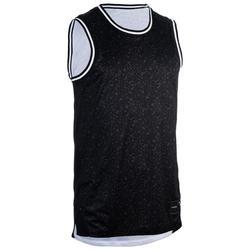 Camiseta reversible Baloncesto Tarmak T500R Sin mangas Negro Blanco
