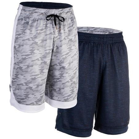 Celana Basket Bolak-Balik untuk Pemain Tingkat Menengah - Heather Blue/Abu-Abu